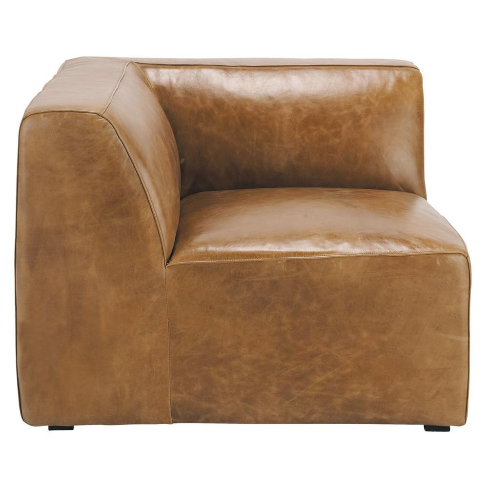 vintage brown leather sofa corner section jefferson jefferson maisons du monde