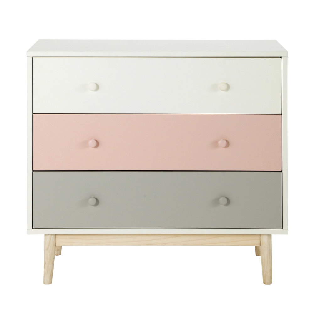 vintage chest of drawers in white and pink blush maisons du monde. Black Bedroom Furniture Sets. Home Design Ideas