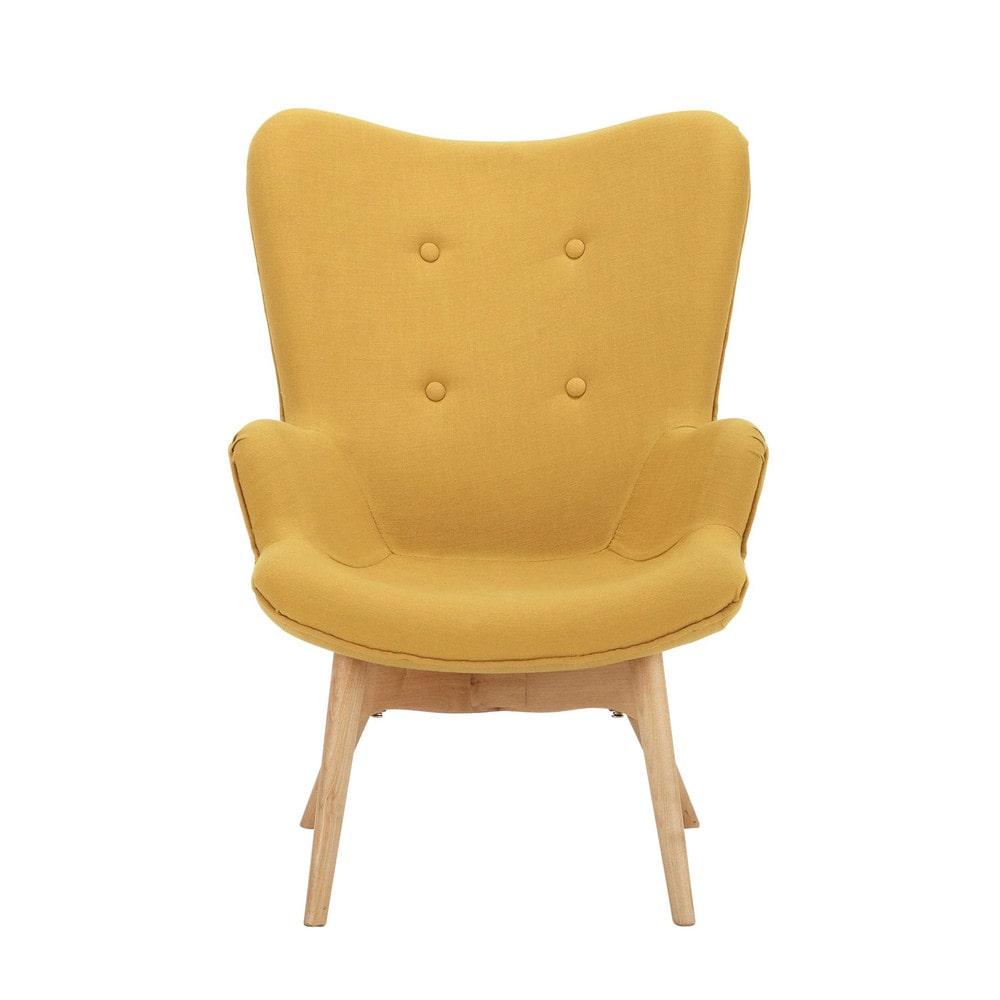 vintage kindersessel aus holz und stoff gelb iceberg maisons du monde. Black Bedroom Furniture Sets. Home Design Ideas