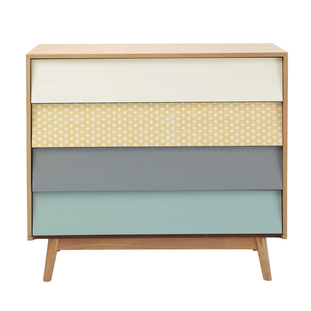 vintage multicoloured 4 drawer chest fjord maisons du monde. Black Bedroom Furniture Sets. Home Design Ideas