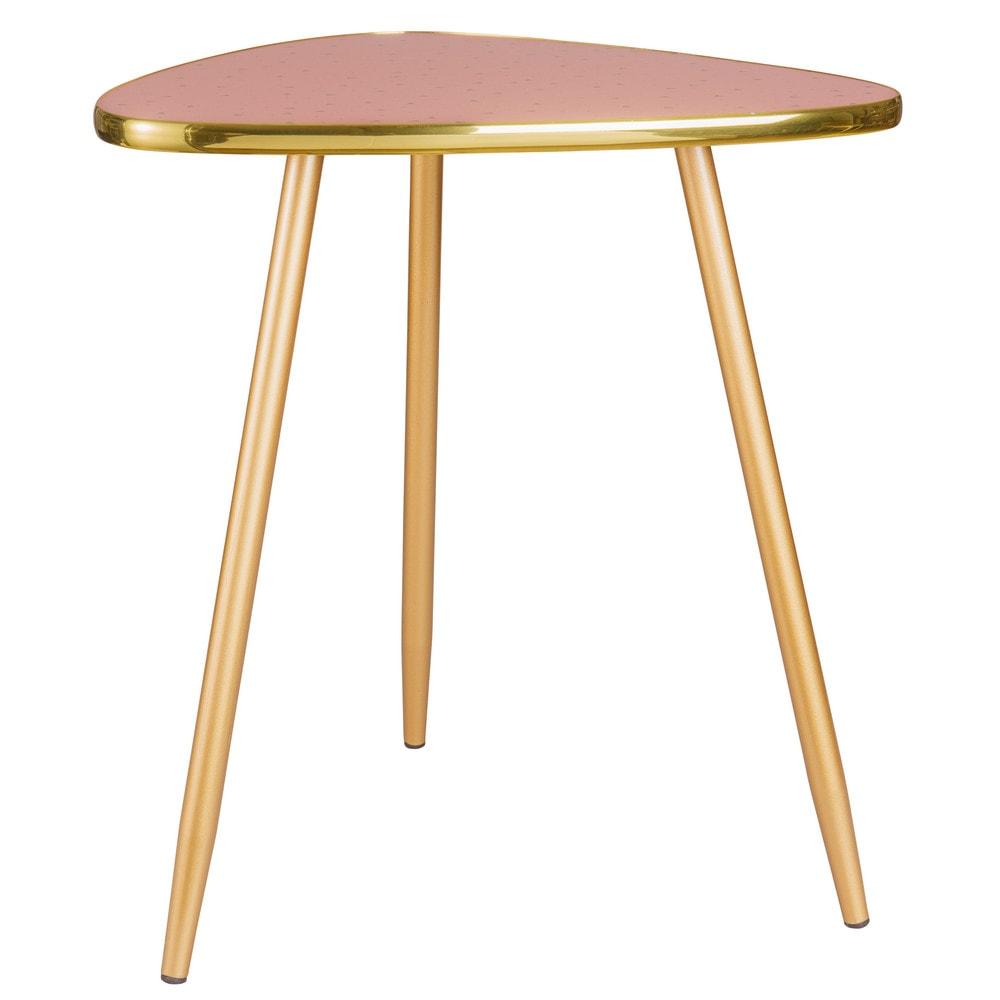 Vintage Side Table in Pink and Gold Metal Maisons du Monde