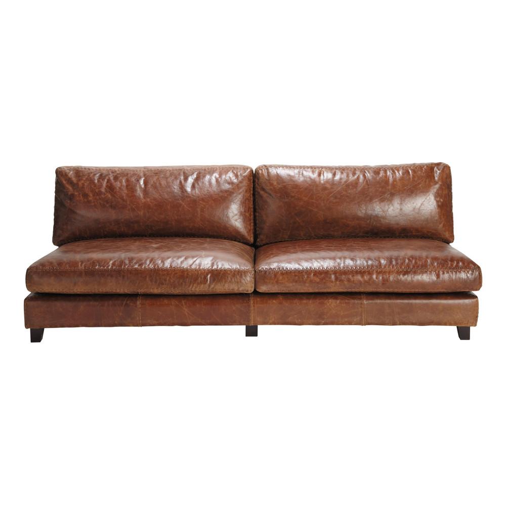 vintage-sofa 2-/3-sitzer aus leder, braun nevada   maisons du monde, Hause deko