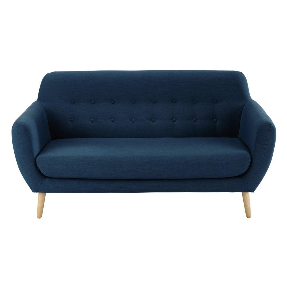 Vintage-Sofa 2-/3-sitzig aus Stoff, petrolblau Iceberg ...