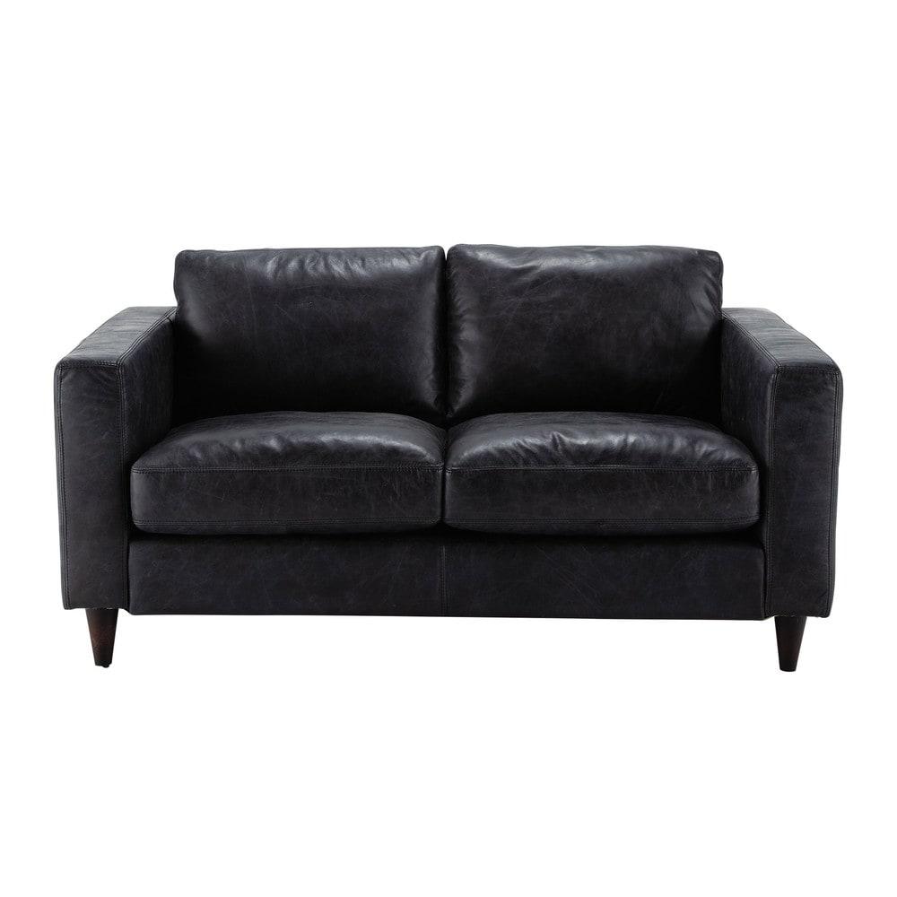 Vintage Sofa 2 Sitzer aus Leder schwarz Henry Henry