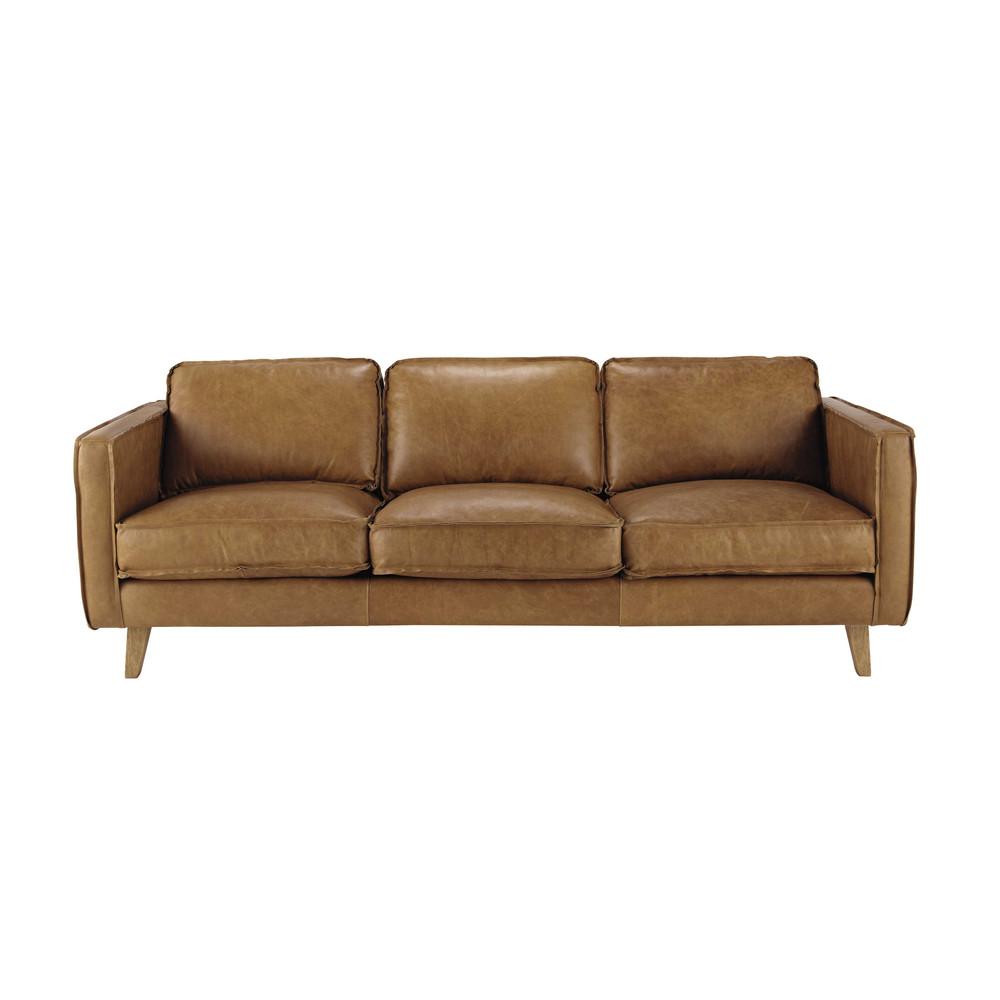 vintage sofa 3 sitzer aus leder camelfarben hipster maisons du monde. Black Bedroom Furniture Sets. Home Design Ideas