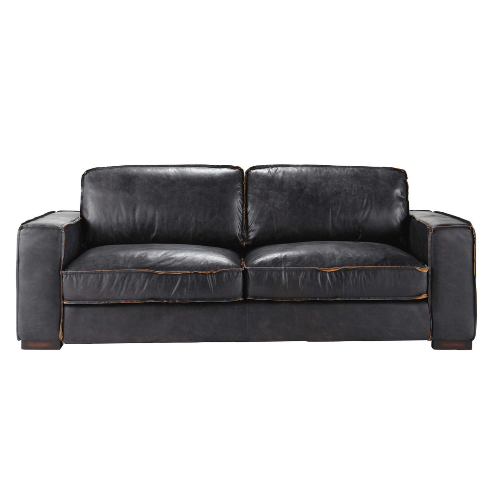 vintage sofa 3 sitzer aus leder schwarz colonel maisons du monde. Black Bedroom Furniture Sets. Home Design Ideas