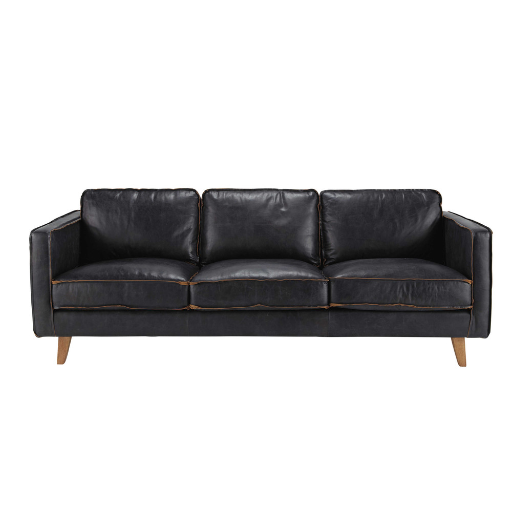 vintage sofa 3 sitzer aus leder schwarz hipster maisons du monde. Black Bedroom Furniture Sets. Home Design Ideas