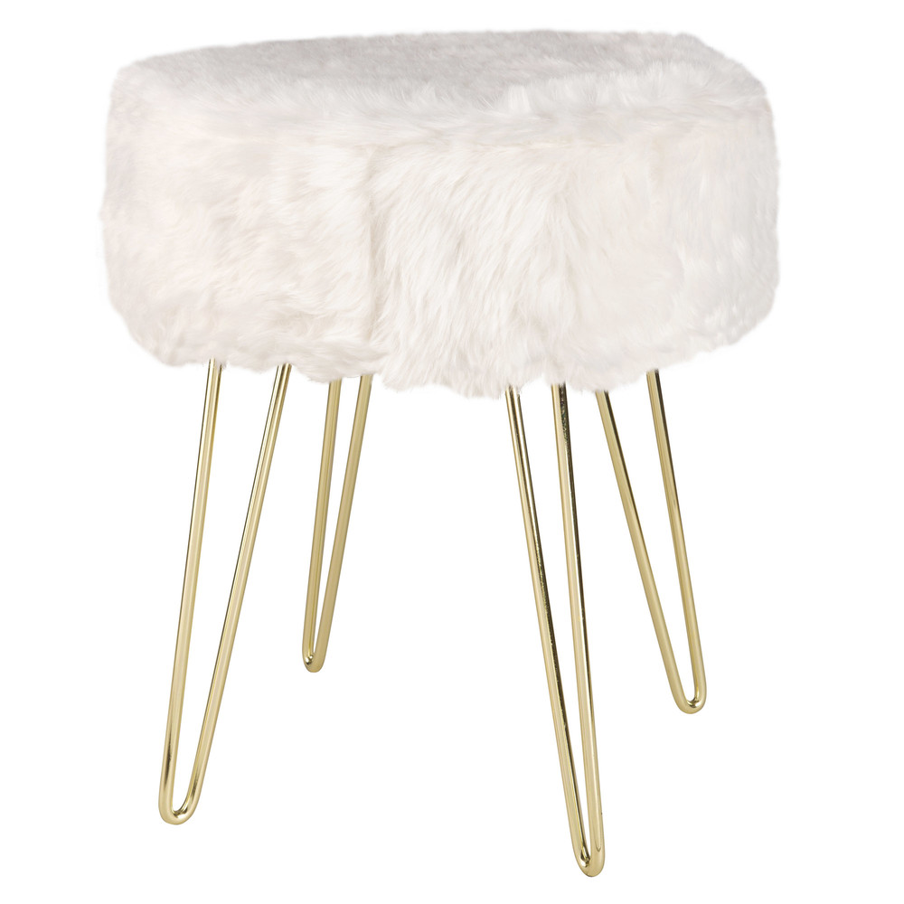 vintage style white faux fur stool maisons du monde. Black Bedroom Furniture Sets. Home Design Ideas