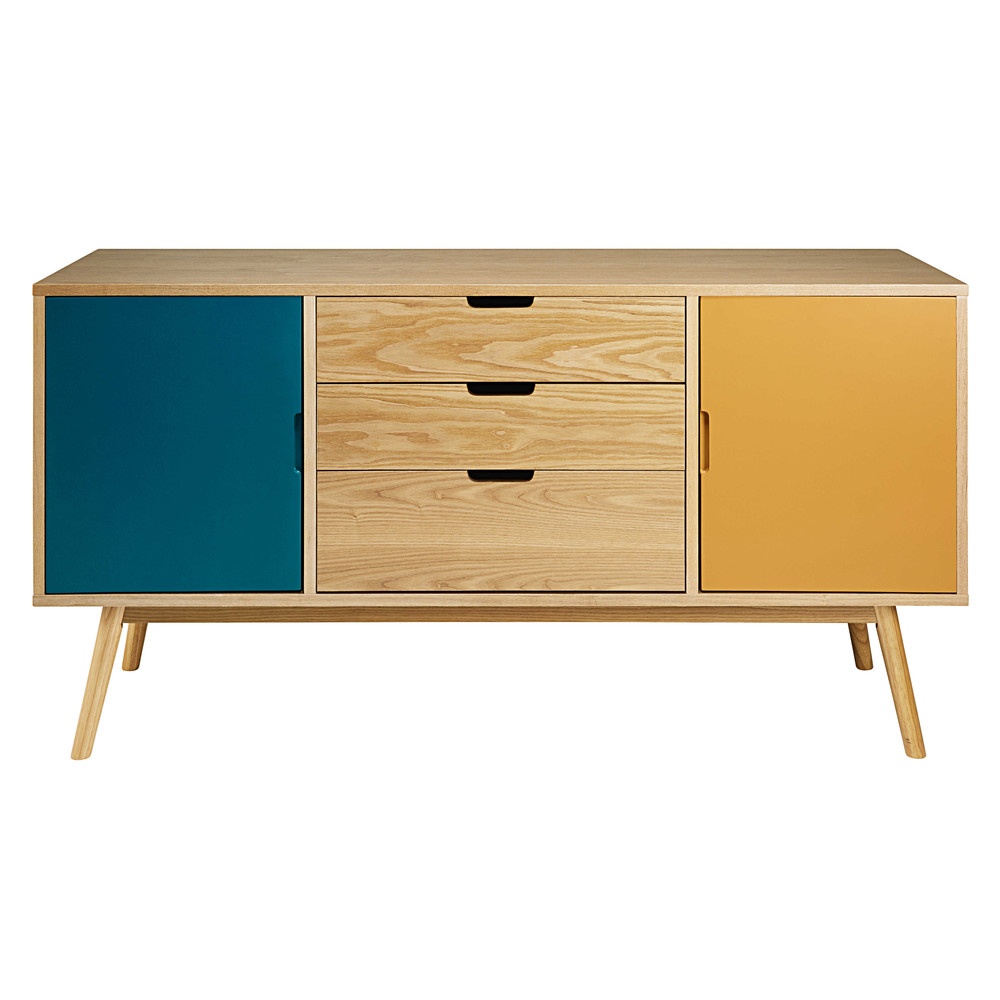 vintage tricoloured 2 door 3 drawer sideboard fjord. Black Bedroom Furniture Sets. Home Design Ideas