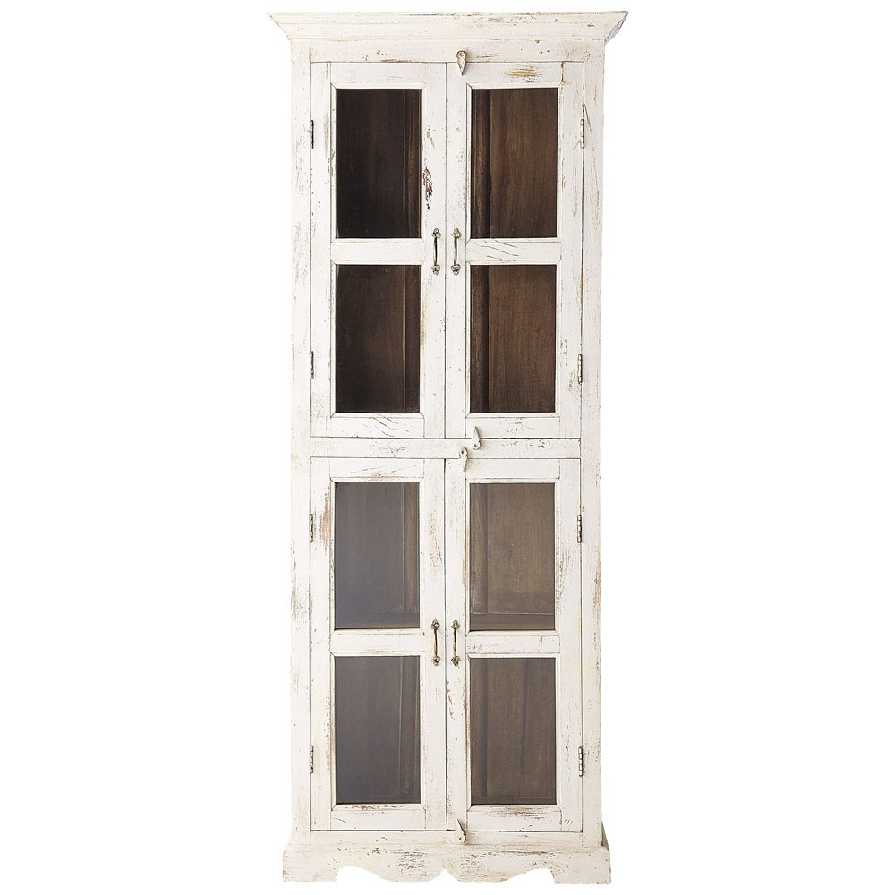 vitrine aus mangoholz, b 80 cm, weiß antik avignon avignon, Badezimmer ideen