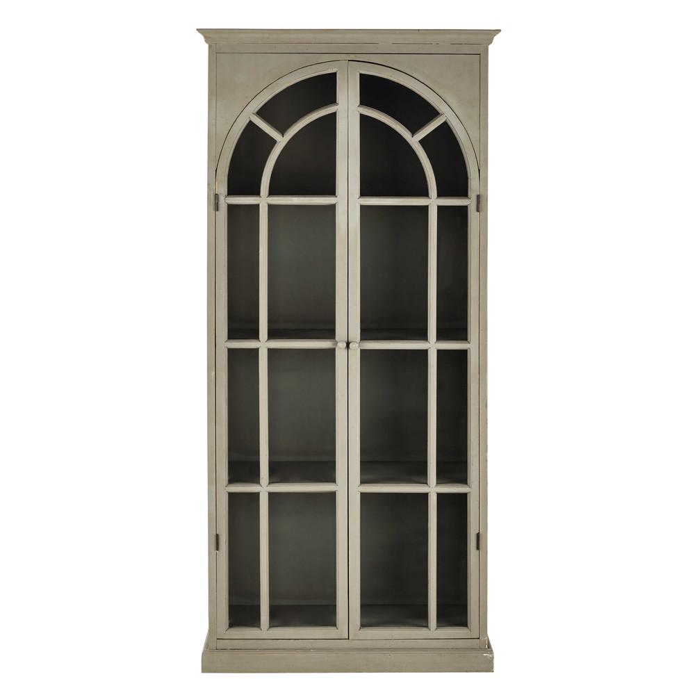 vitrine en bois gris clair l 92 cm agathe maisons du monde. Black Bedroom Furniture Sets. Home Design Ideas