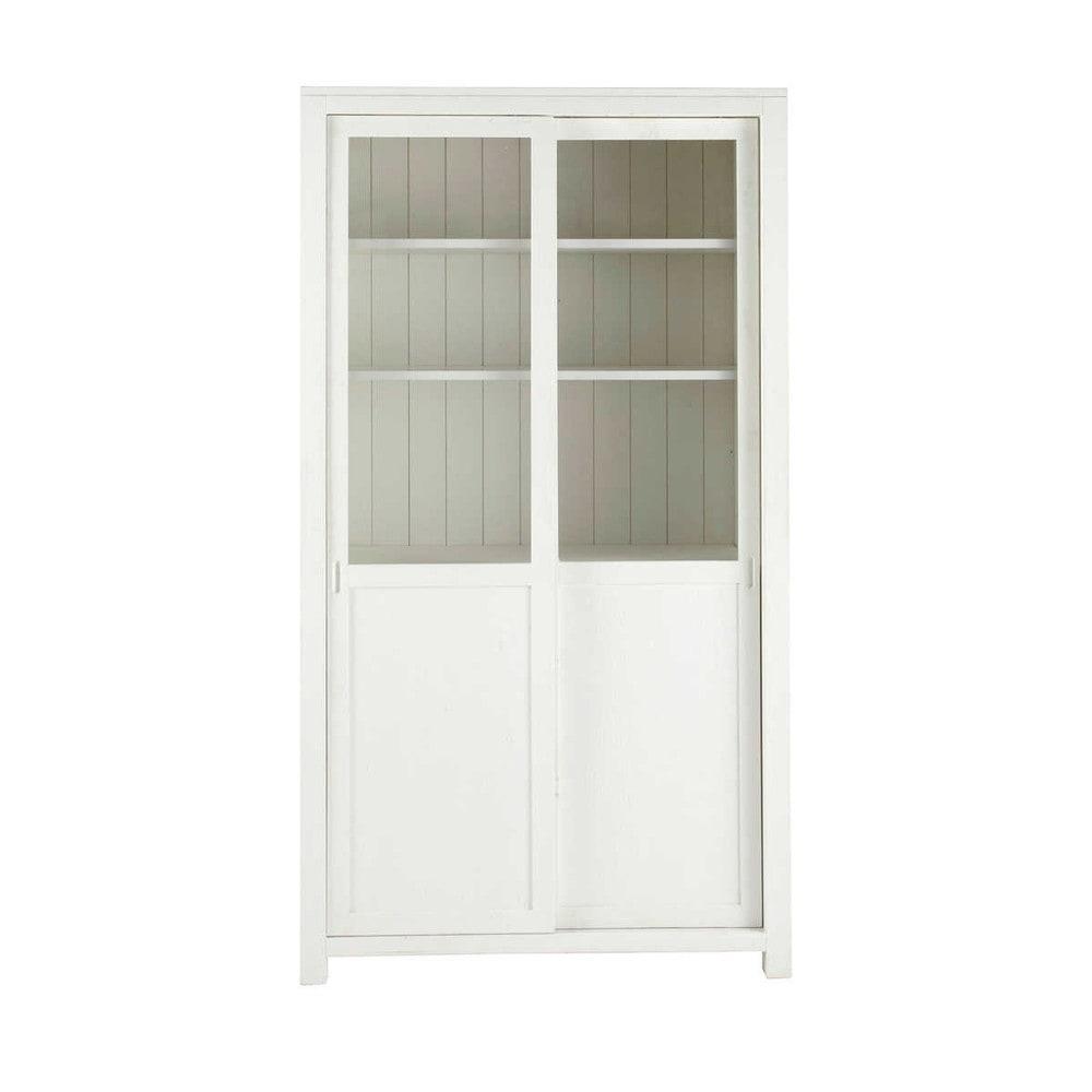 Vitrine en bois massif blanche l 110 cm white maisons du for Armarios maison du monde