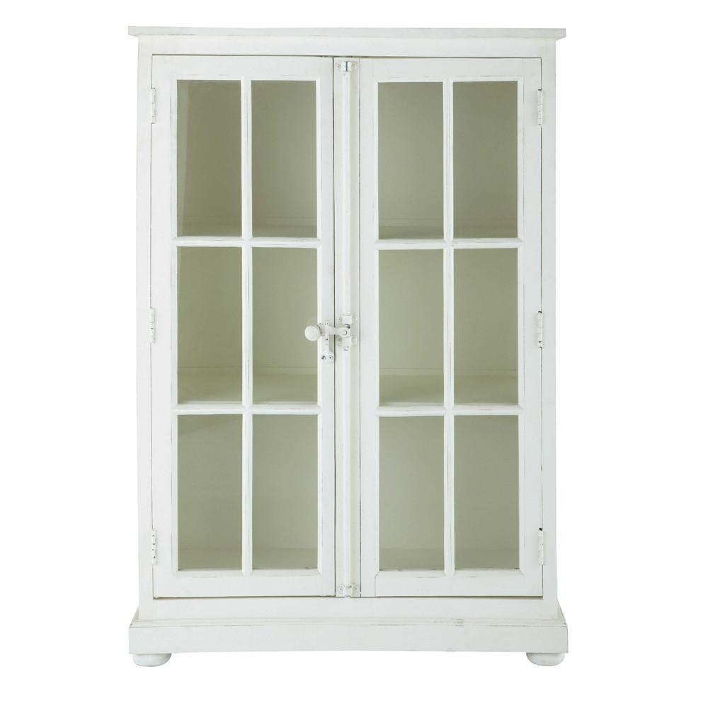 vitrine en manguier blanc cass l 87 cm castille maisons du monde. Black Bedroom Furniture Sets. Home Design Ideas