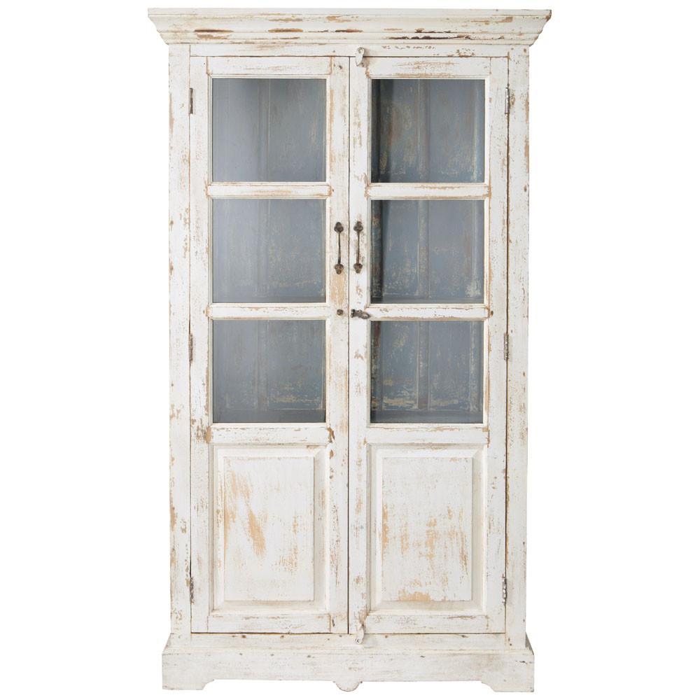 vitrine en manguier blanche effet vieilli l 105 cm avignon maisons du monde. Black Bedroom Furniture Sets. Home Design Ideas