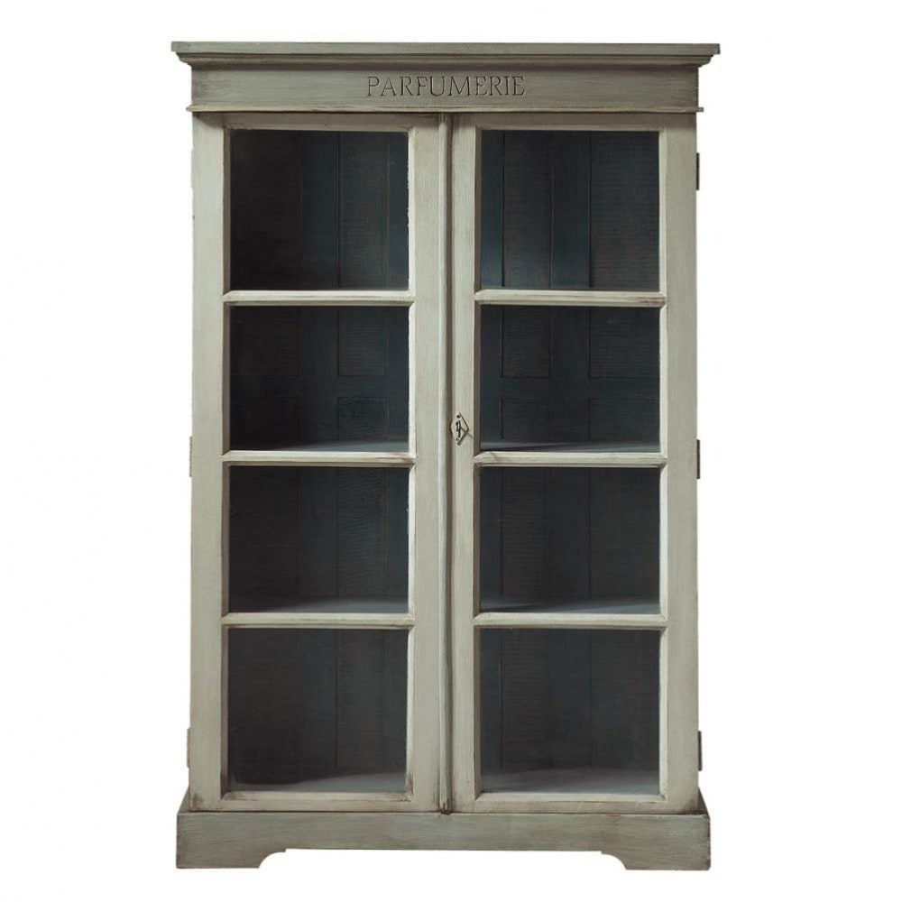 vitrine en manguier gris perle l 90 cm st r my maisons. Black Bedroom Furniture Sets. Home Design Ideas