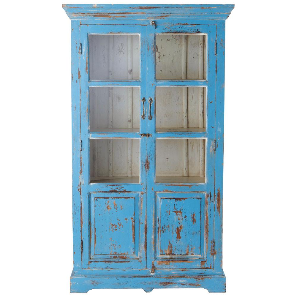 vitrine en manguier turquoise effet vieilli l 105 cm. Black Bedroom Furniture Sets. Home Design Ideas
