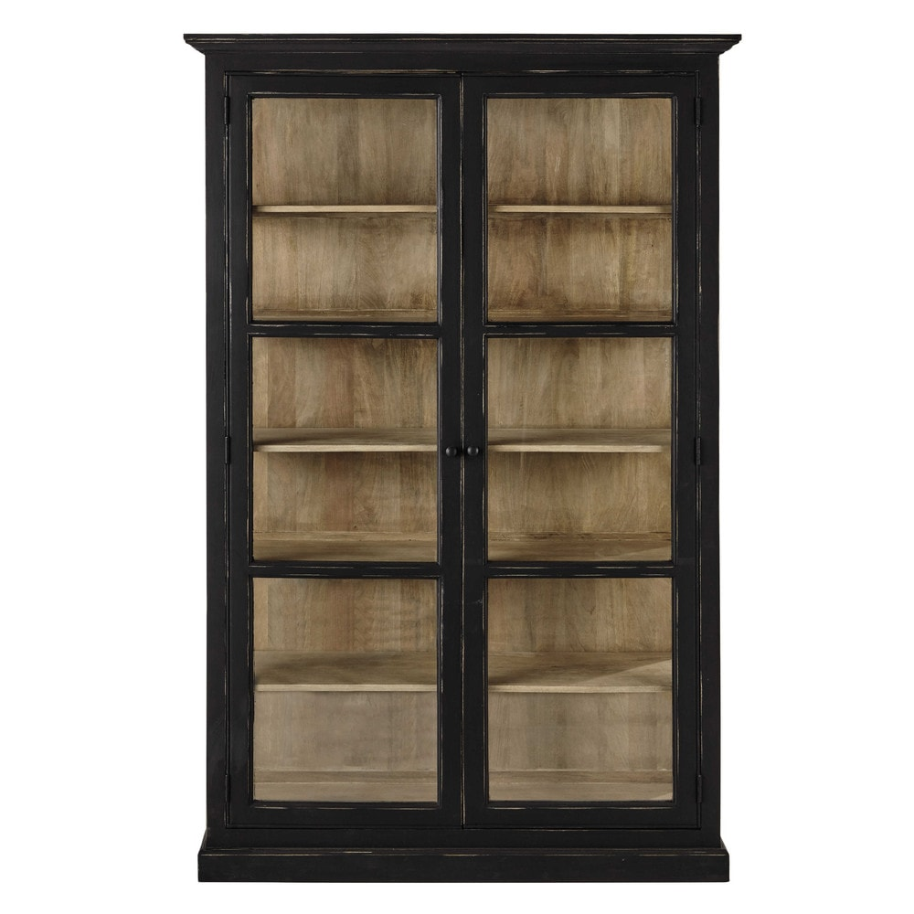 vitrinenschrank aus mangoholz b 135 cm mattschwarz diderot maisons du monde. Black Bedroom Furniture Sets. Home Design Ideas