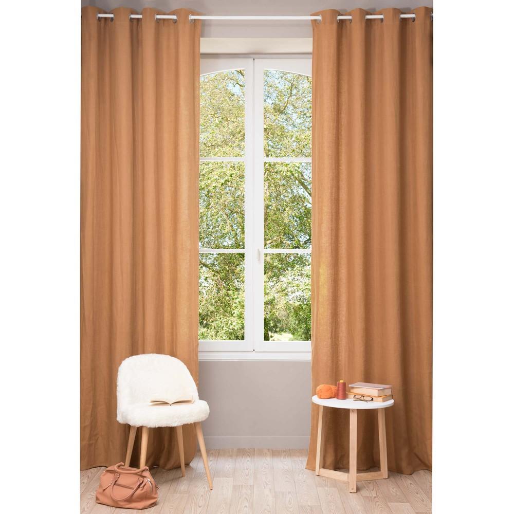 vorhang aus grobem leinen mit sen 130 x 300 cm fuchsorange maisons du monde. Black Bedroom Furniture Sets. Home Design Ideas