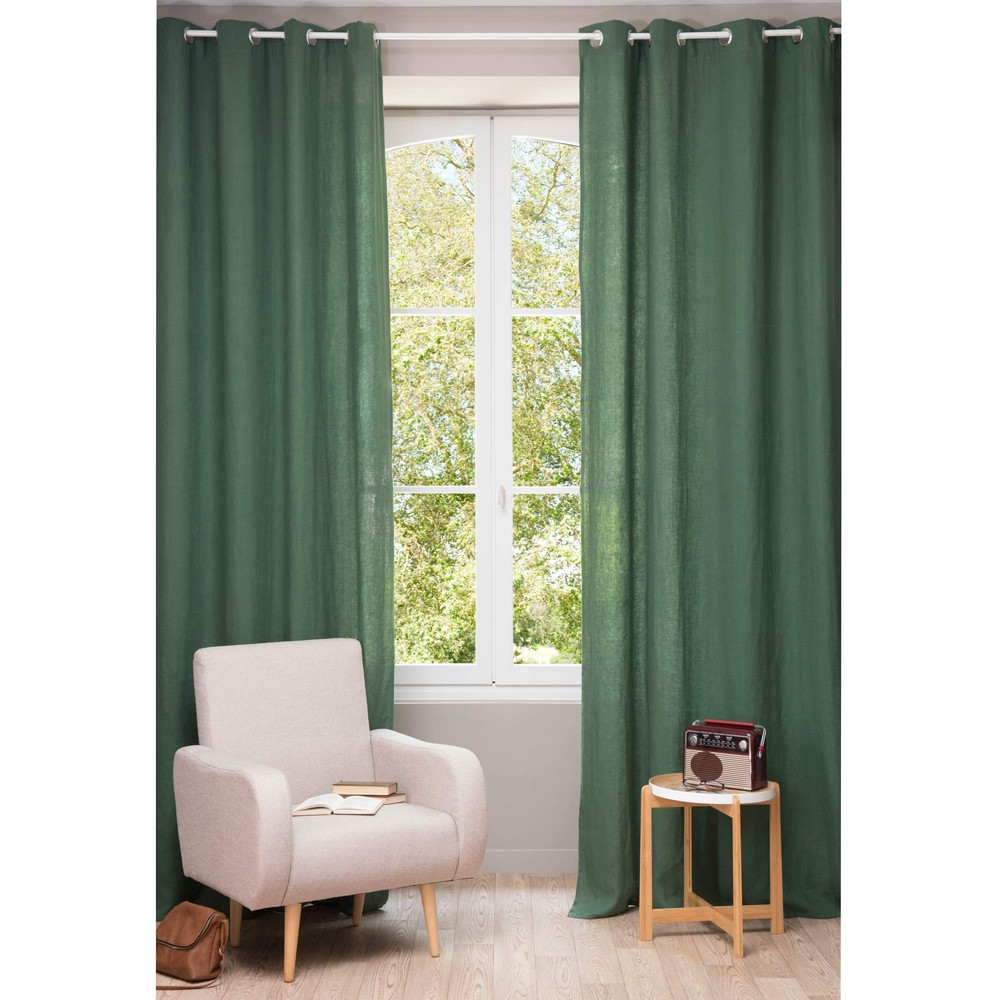 vorhang aus grobem leinen mit sen 130 x 300 cm. Black Bedroom Furniture Sets. Home Design Ideas