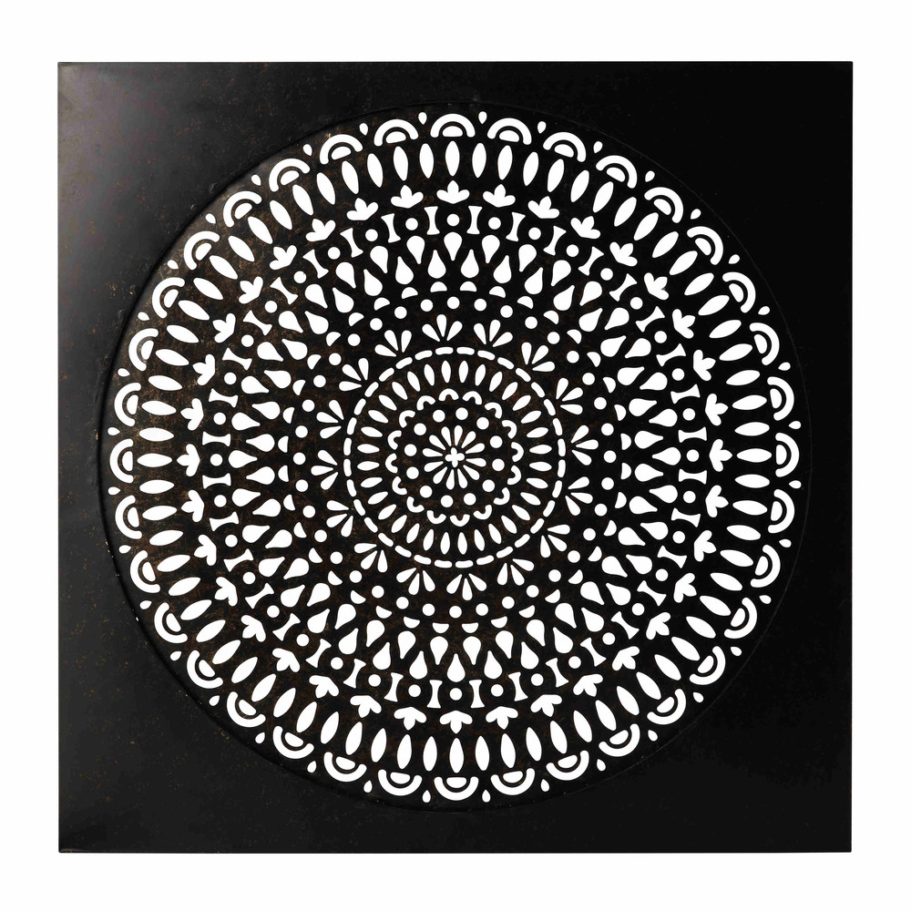 wanddecoratie zwart metaal 110 x 110 cm essaouira