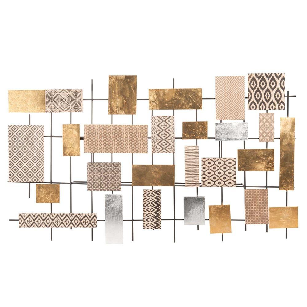 wanddekoration aus metall 47 x 81 cm jungle mix maisons du monde. Black Bedroom Furniture Sets. Home Design Ideas