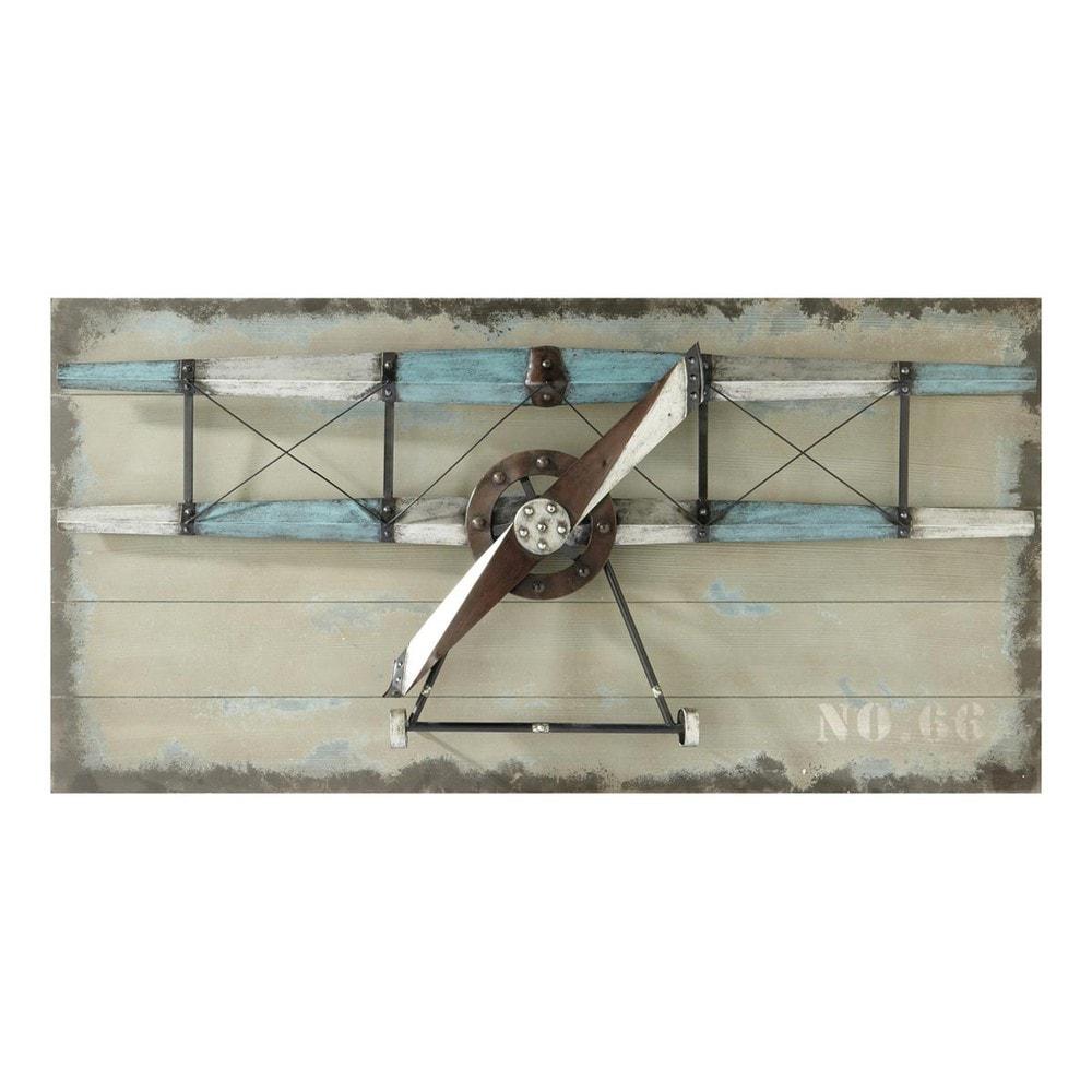 wanddekoration flugzeug carlingue aus holz 60 x 120 cm. Black Bedroom Furniture Sets. Home Design Ideas