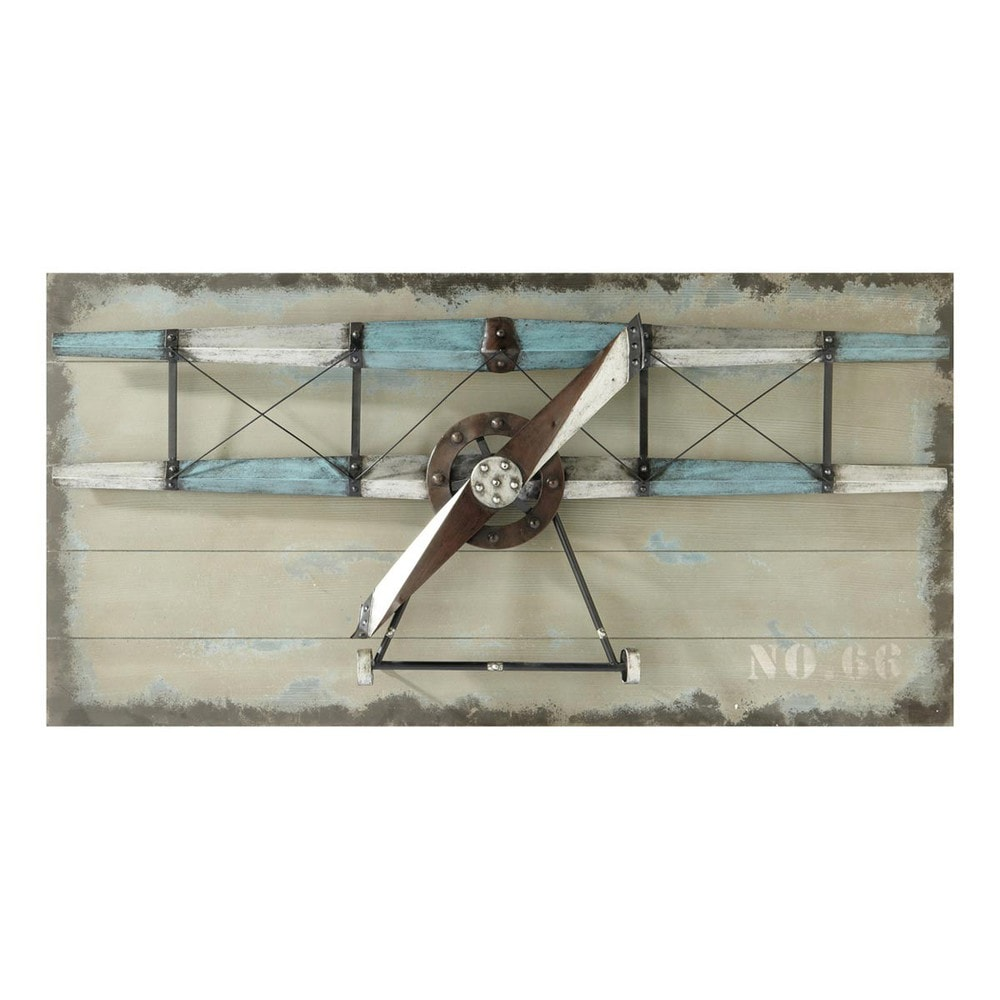 wanddekoration flugzeug carlingue aus holz 60 x 120 cm