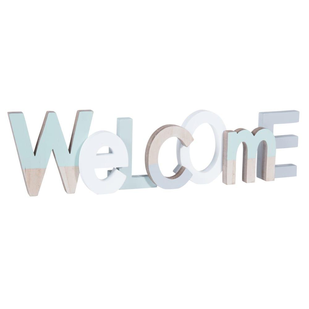 wanddekoration welcome aus holz 11 x 42 cm pastellblau maisons du monde. Black Bedroom Furniture Sets. Home Design Ideas
