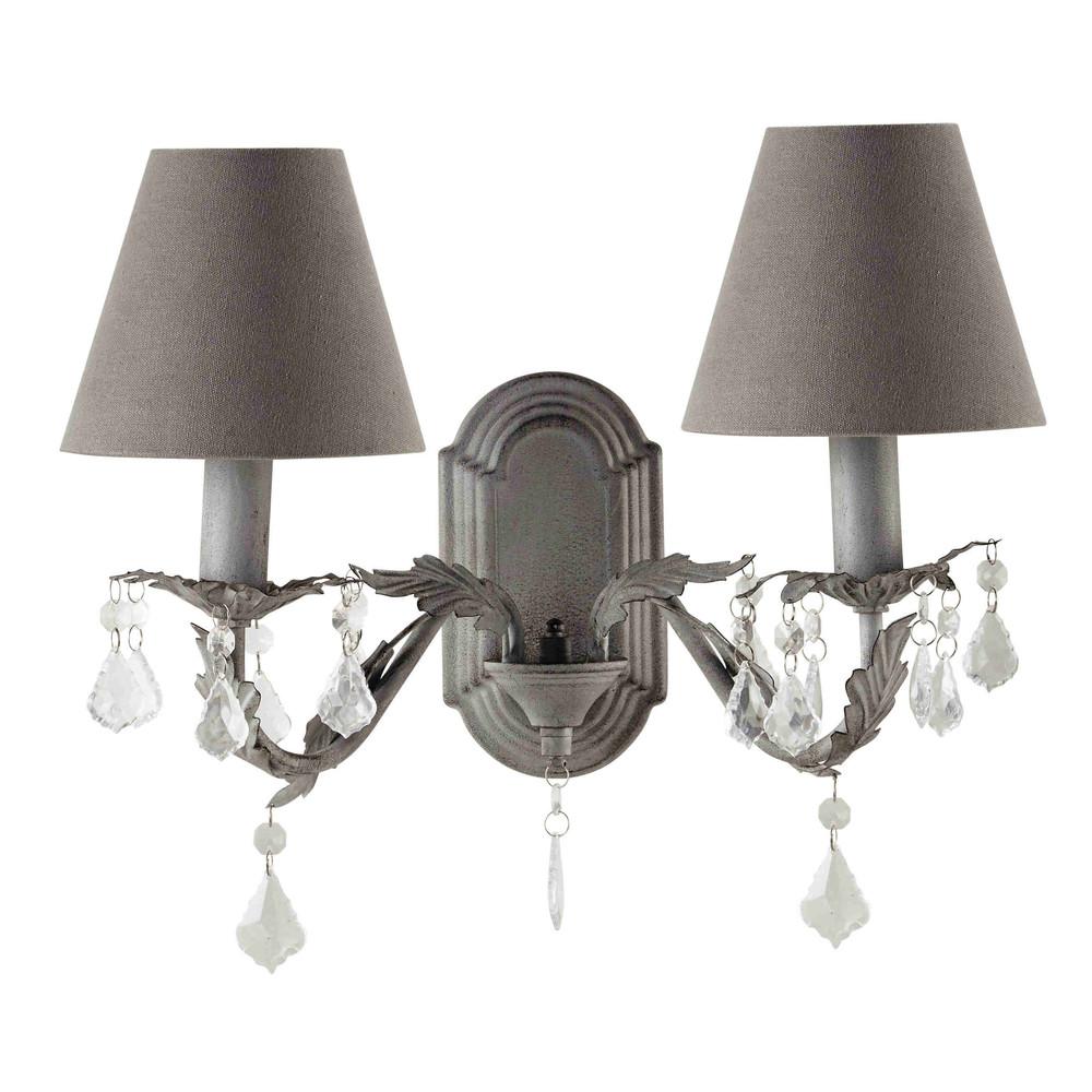 wandleuchte marigny aus metall h 31 cm grau maisons du monde. Black Bedroom Furniture Sets. Home Design Ideas