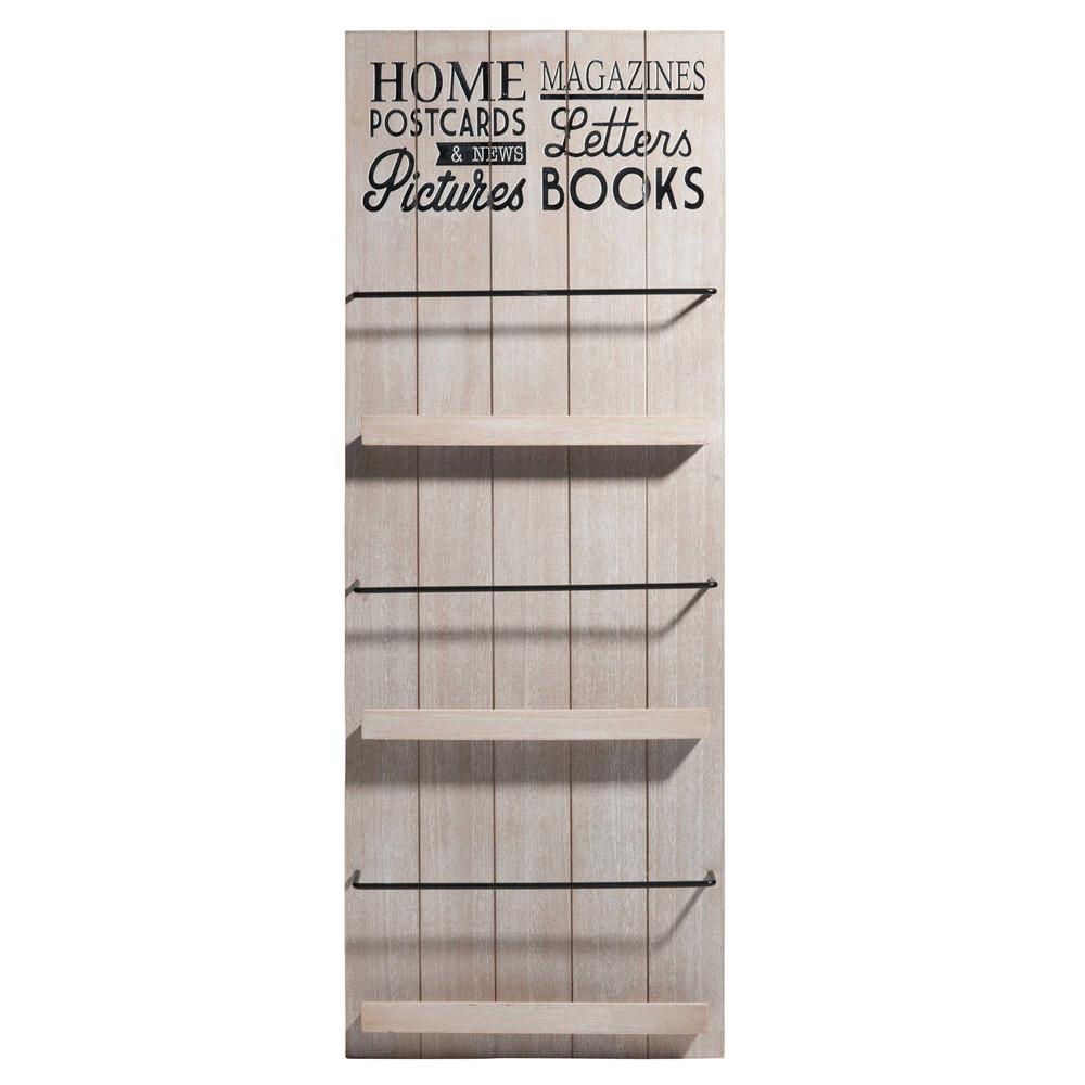 Zeitungsständer Wand Aus Holz ~   und Aufbewahrungskörbe › Wandregal aus Holz 30 x 81 cm HOME