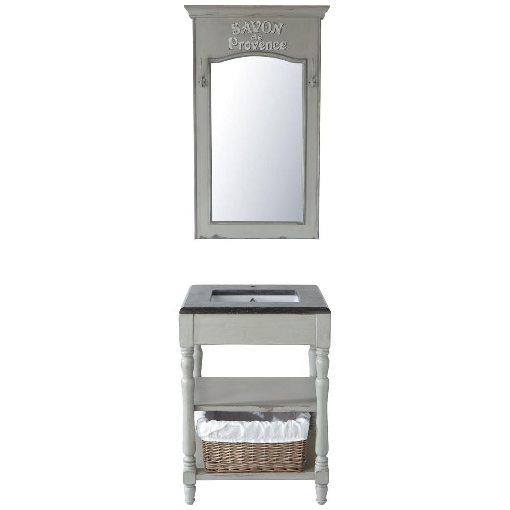 waschtisch aus holz und marmor b 65 cm taupe saint r my. Black Bedroom Furniture Sets. Home Design Ideas