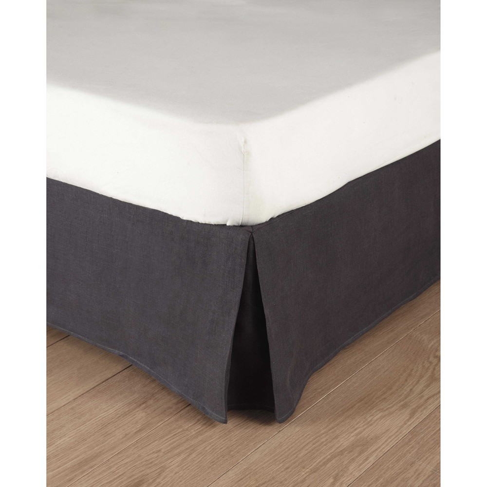 Grey Linen Bed Skirt : Washed linen bed skirt in charcoal grey cm