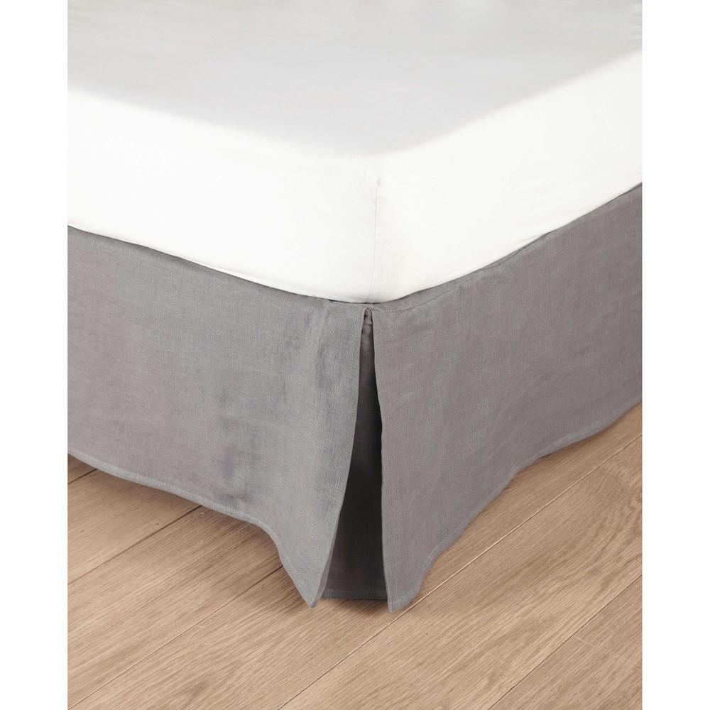 Grey Linen Bed Skirt : Washed linen bed skirt in grey cm morph?e