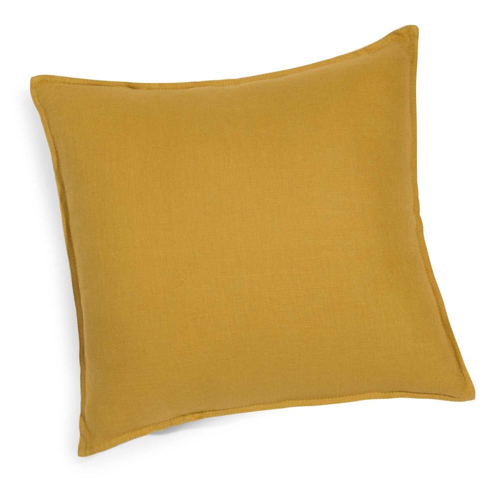 Washed linen cushion in mustard yellow 60 x 60cm maisons - Coussin maison du monde ...