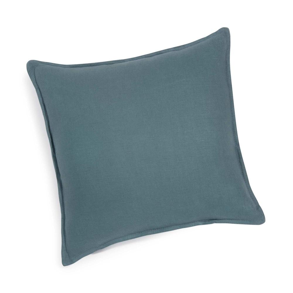 Washed linen cushion in petrol blue 45 x 45 cm maisons - Coussin maison du monde ...