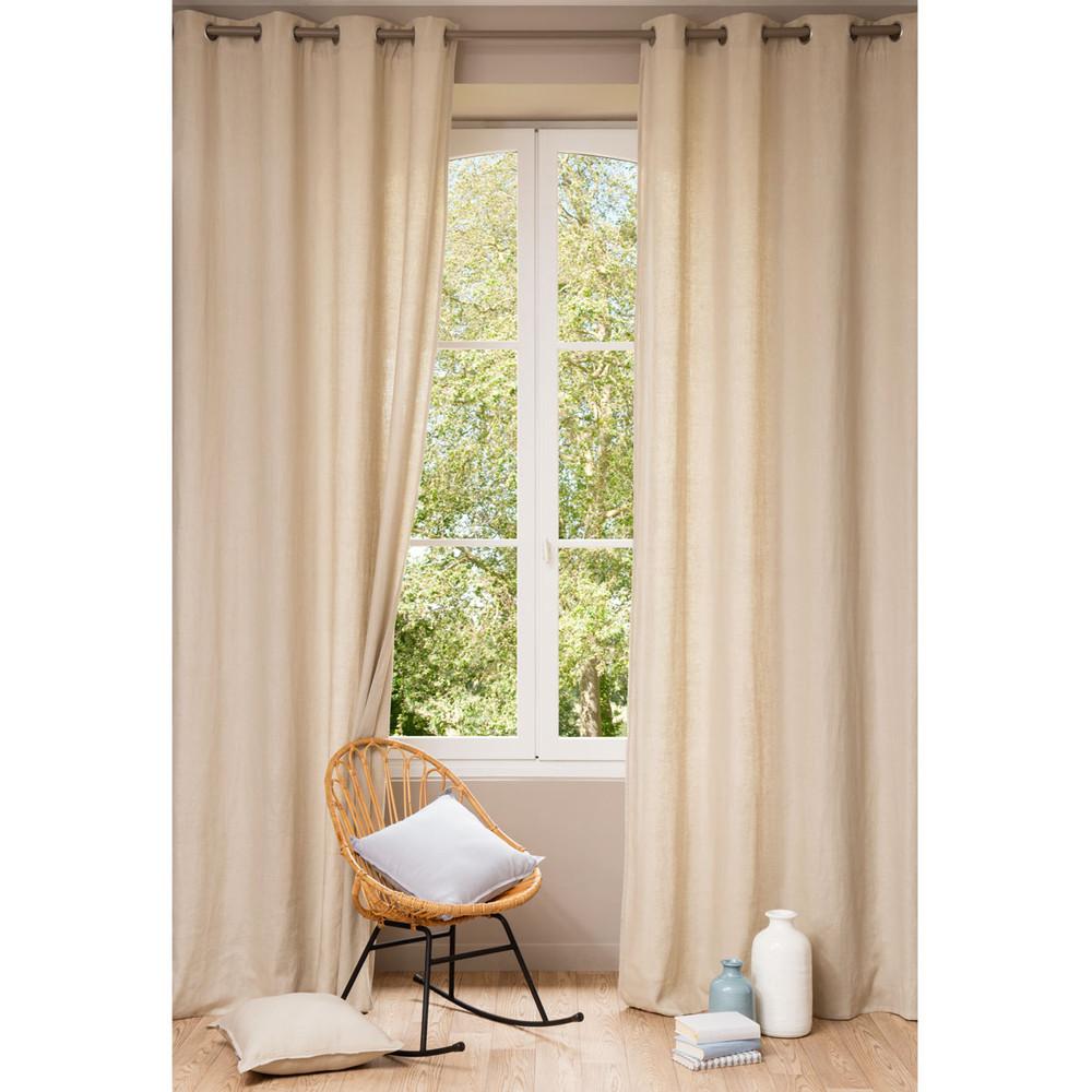 Washed linen eyelet curtain in beige 140 x 300cm maisons - Maison du monde draps ...