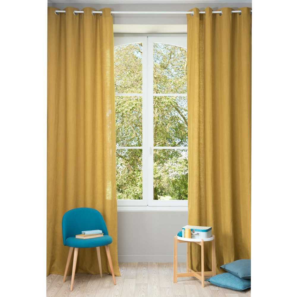 Washed linen eyelet curtain in mustard yellow 130 x 300cm maisons du monde - Jaune moutarde decor ...