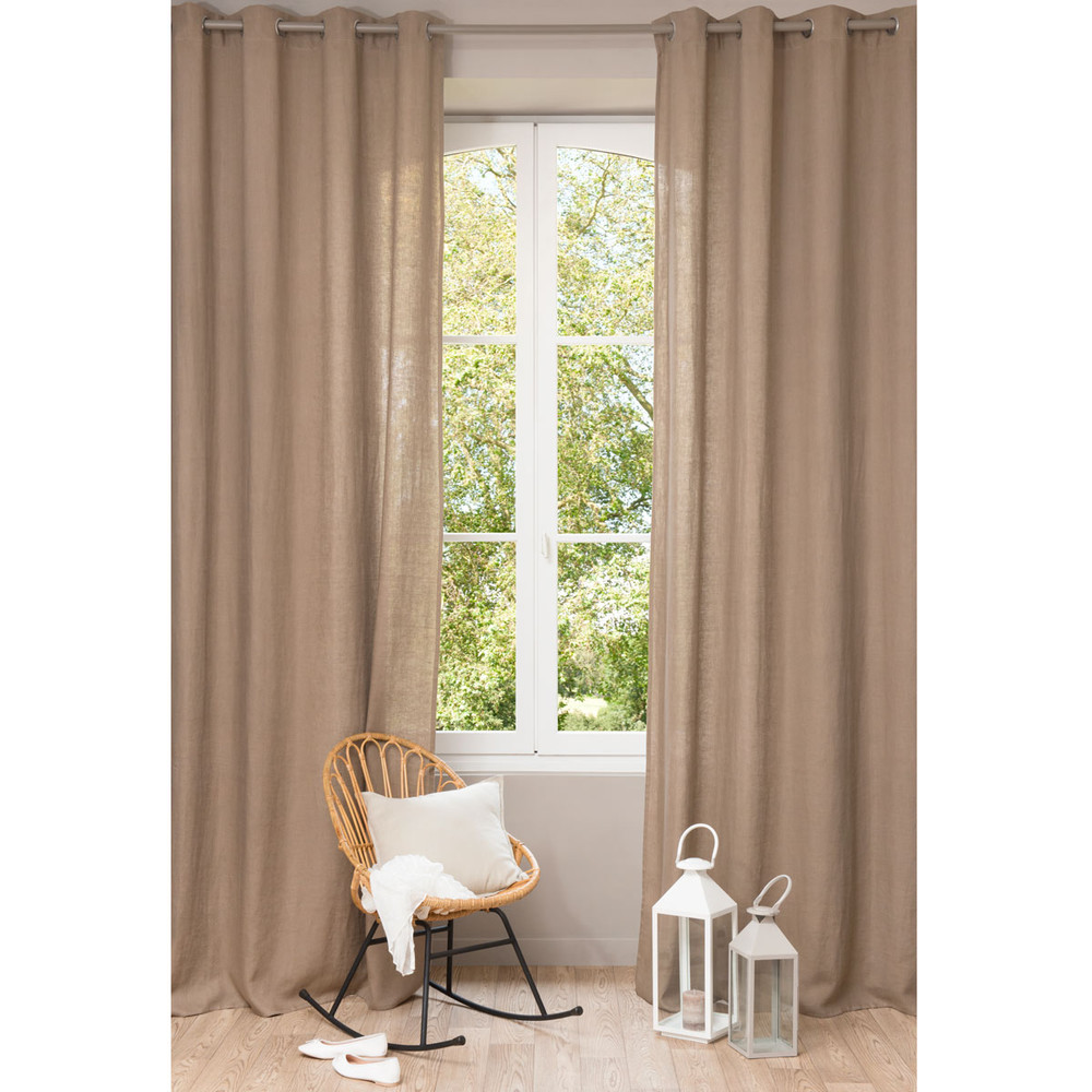 Washed linen eyelet curtain in taupe 130 x 300cm maisons for Maison de monde uk