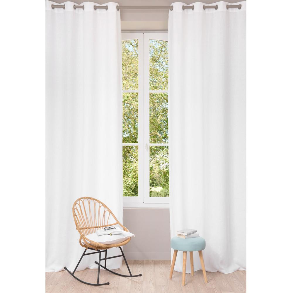 Washed linen eyelet curtain in white 130 x 300cm maisons - Maison du monde draps ...