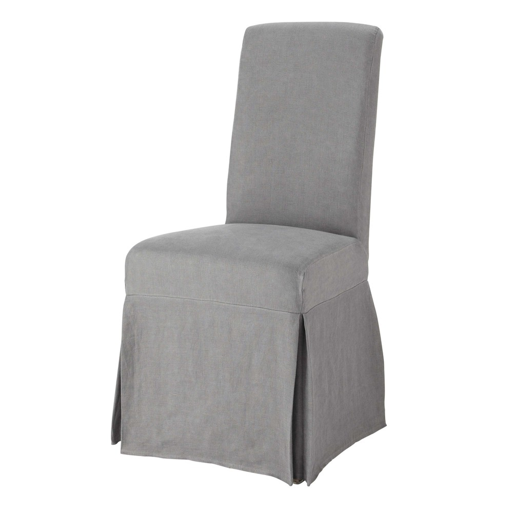 washed linen long chair cover in grey margaux maisons du