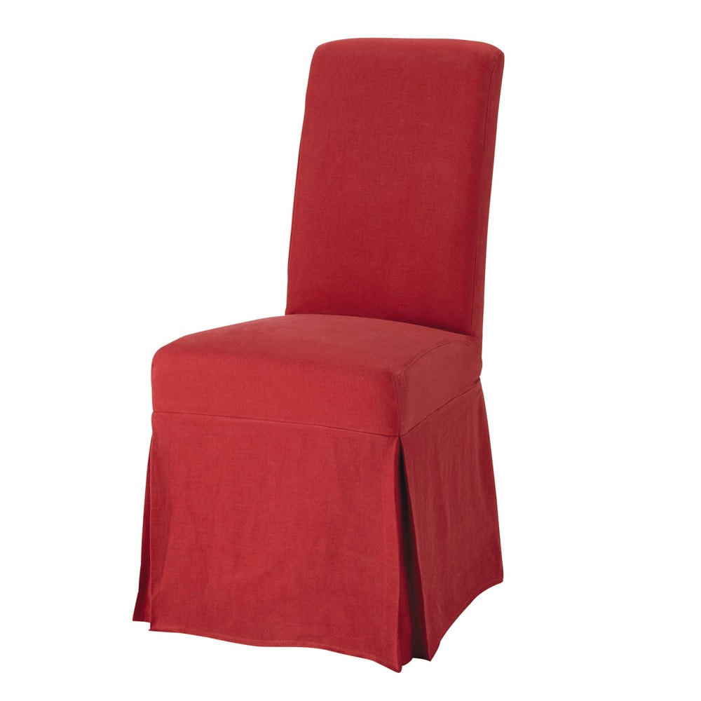 washed linen long chair cover in red margaux maisons du monde. Black Bedroom Furniture Sets. Home Design Ideas