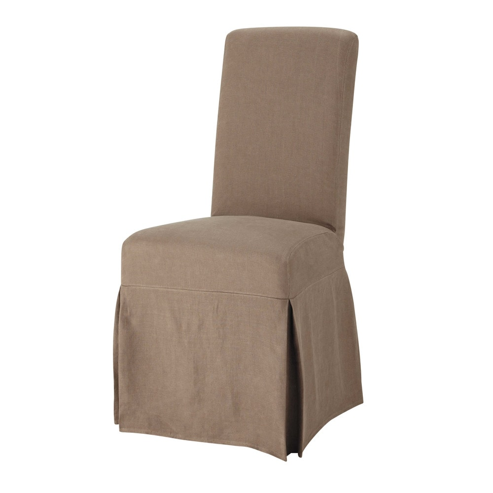 Washed Linen Long Chair Cover In Taupe Margaux Maisons