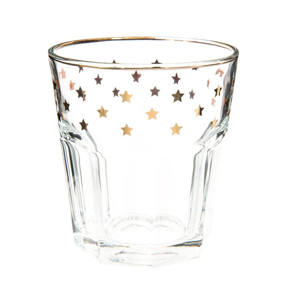 Wasserglas Mit Goldenen Sternen Maisons Du Monde