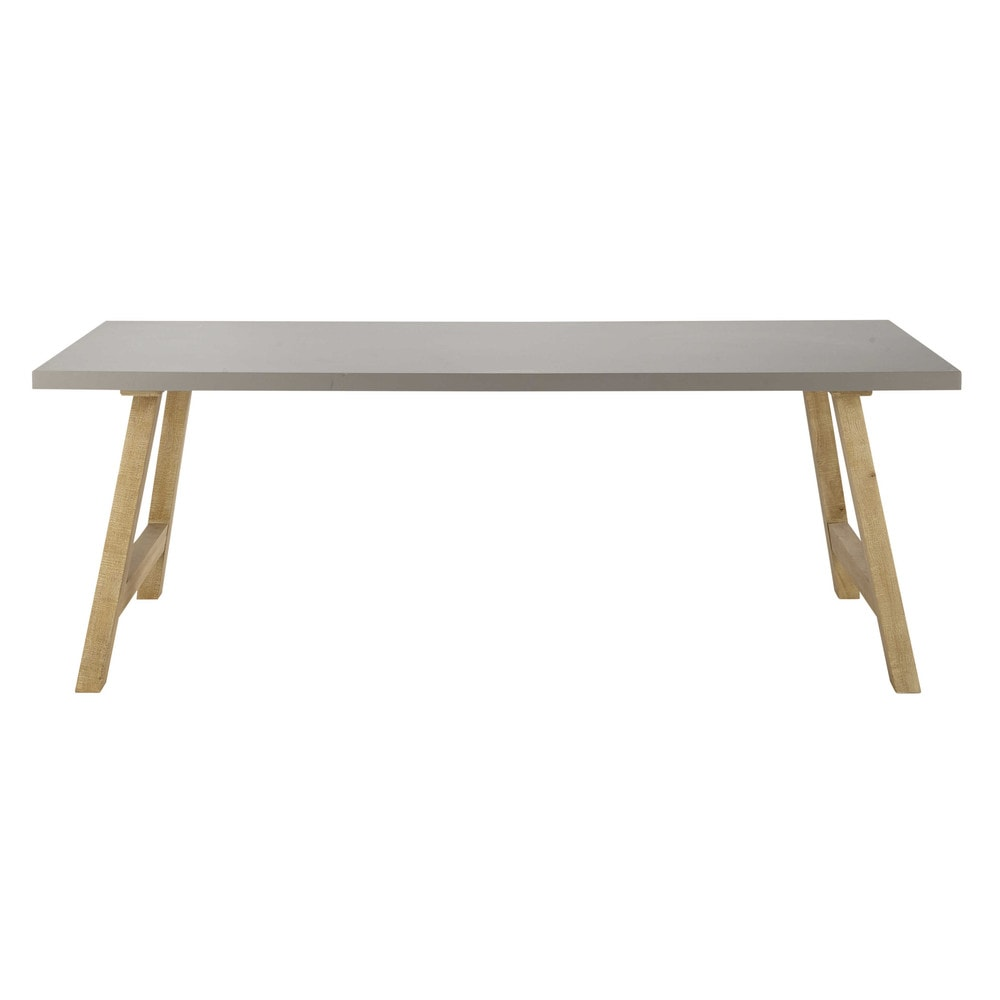 waxed concrete effect dining table w 220cm vermont maisons du monde. Black Bedroom Furniture Sets. Home Design Ideas