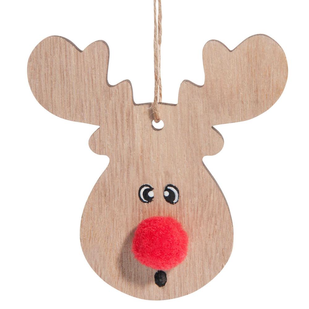 weihnachtsdeko elch mit pompon aus holz h 18 cm maisons du monde. Black Bedroom Furniture Sets. Home Design Ideas