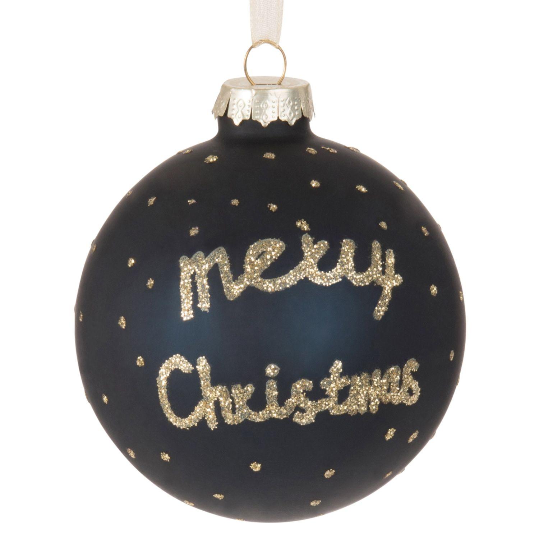 Weihnachtskugel aus Glas, blau mit Muster | Maisons du Monde