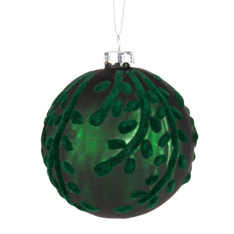 Weihnachtskugel aus grünem Glas und Samt | Maisons du Monde