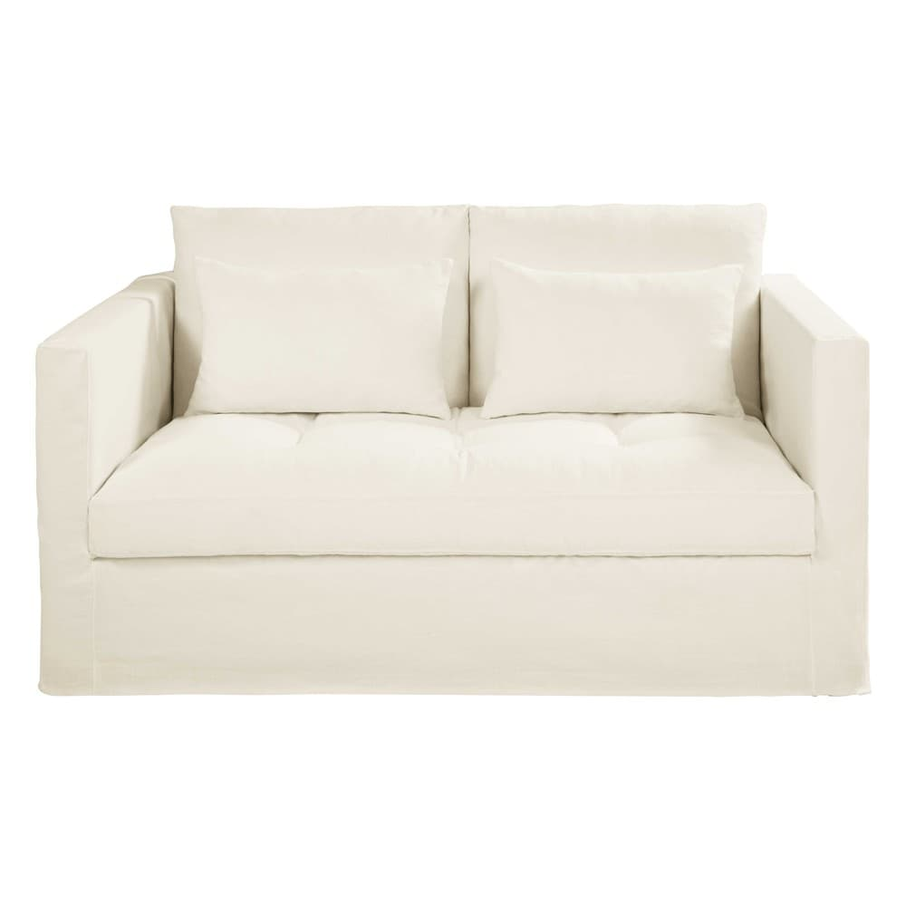 White 2 seater washed linen sofa bed basile maisons du monde for White linen sectional sofa