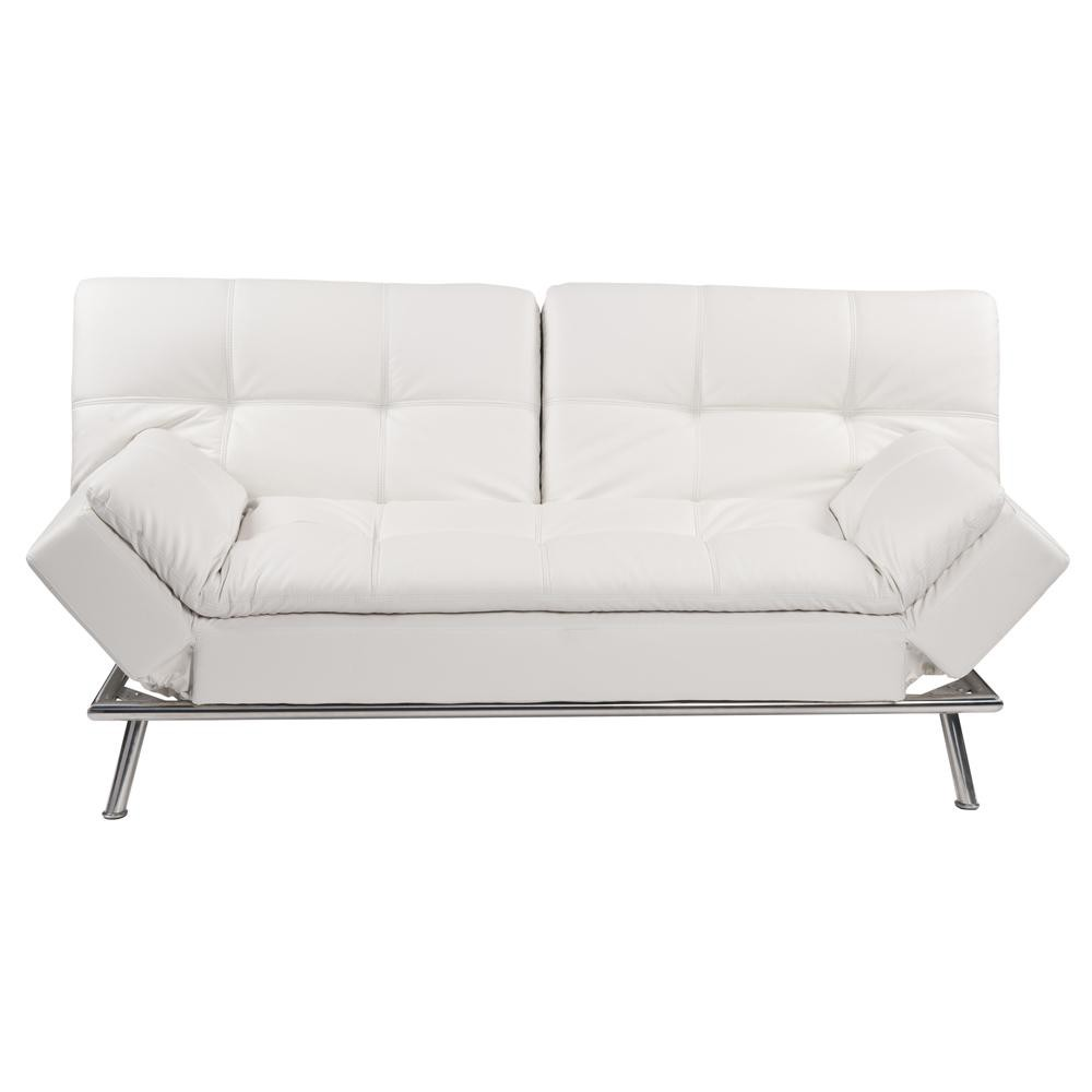 white 3 seater tufted clic clac sofa bed denver maisons. Black Bedroom Furniture Sets. Home Design Ideas