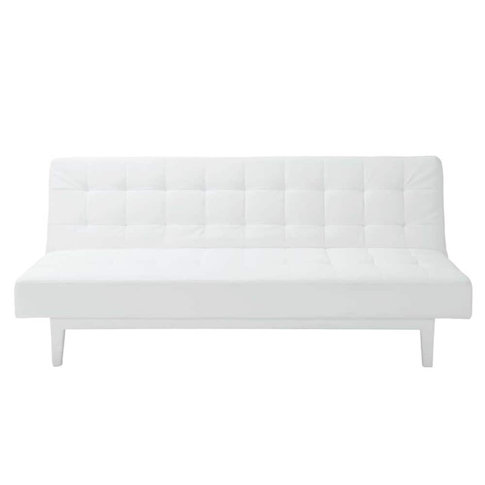 White 3-seater tufted clic clac sofa bed Studio | Maisons du Monde